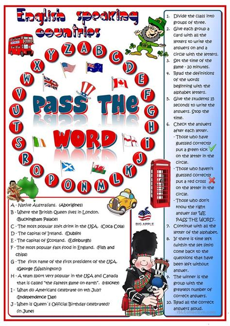 pass the word english speaking countries quizl worksheet