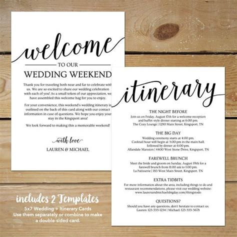 Wedding Ceremony Itinerary Template by Wedding Itinerary Template Printable Wedding Welcome