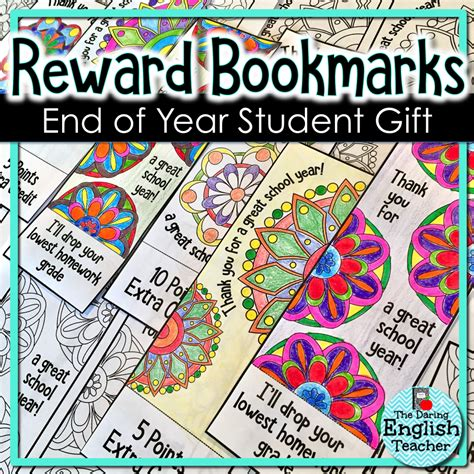 printable reward bookmarks student gifts free end of year printables for big kids
