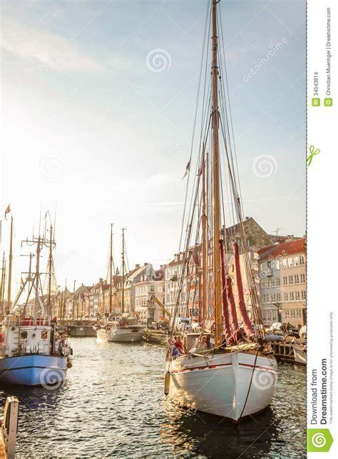 boat license denmark old sailing boat in evening light in copenhagen editorial