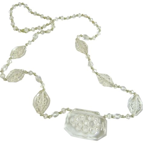 glass bead necklace vintage clear carved glass bead necklace ornaments
