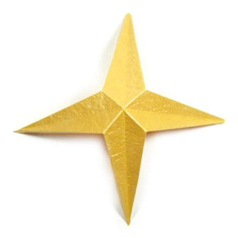 4 Pointed Origami - how to make a four pointed easy embossed origami paper