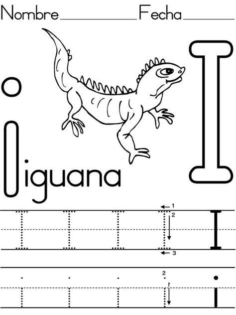 letter i is for iguana coloring page free printable learning to write letter i for iguana coloring page