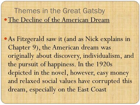 great gatsby key themes the great gatsby project ppt video online download