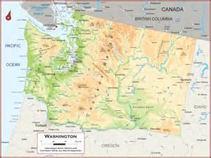 Maps Washington by Washington Map Physical