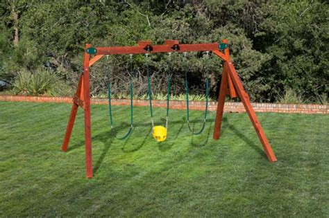childrens wooden swing sets double a frame swing set by west texas swing