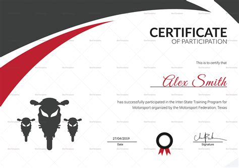 motosport templates motorsport certificate design template in psd word