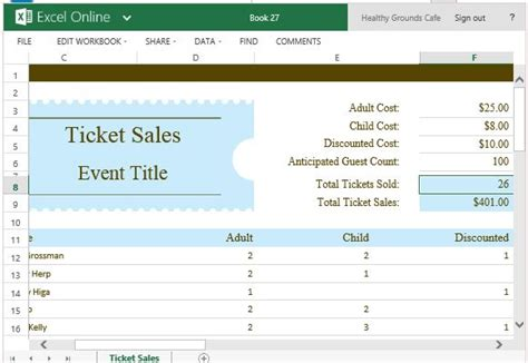 Ticket Sales Tracker Template For Excel Excel Ticket Template