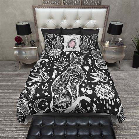 tattoo bed black and white school sphynx cat bedding ink
