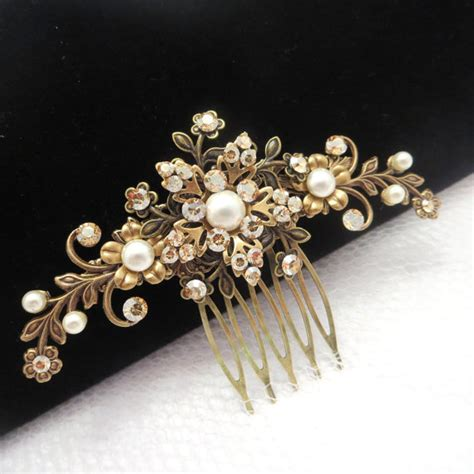 vintage wedding combs for hair bridal hair comb antique brass hair comb wedding hair comb