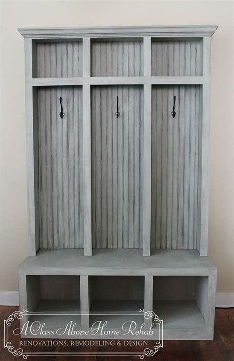 how to build a mudroom bench with cubbies entryway mudroom locker bench 3 lockers shabby chic