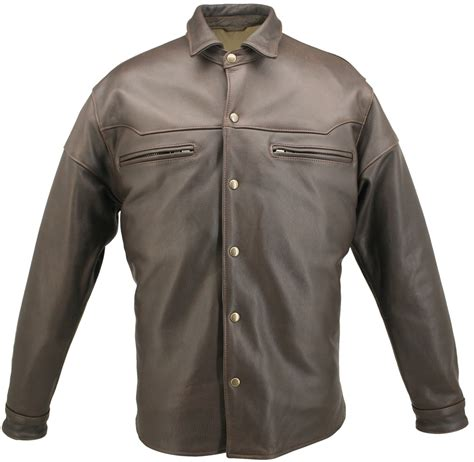 american made mens distressed brown leather shirt the