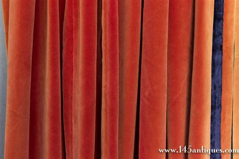 orange velvet curtains orange velvet curtains textiles propins vtg 60s orange