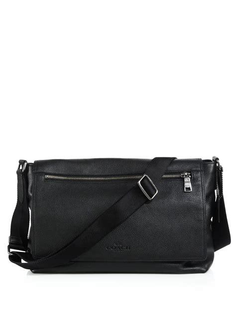 Coach Sulvian Black Coach Sullivan Leather Messenger Bag In Black For Lyst