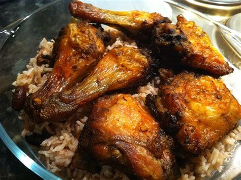nice jamaican style jerk chicken  rice peas dinner