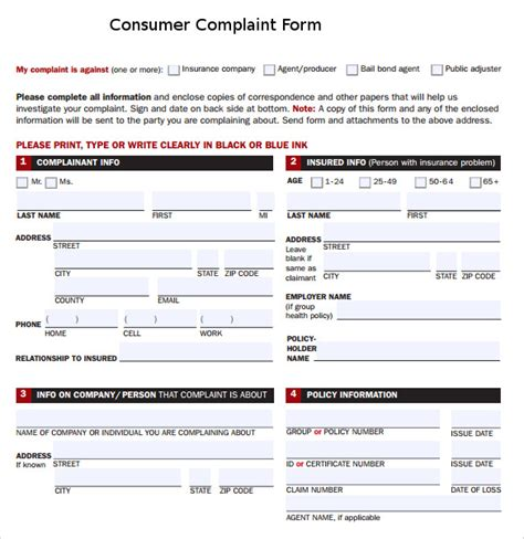 sle consumer complaint form 7 free documents in pdf
