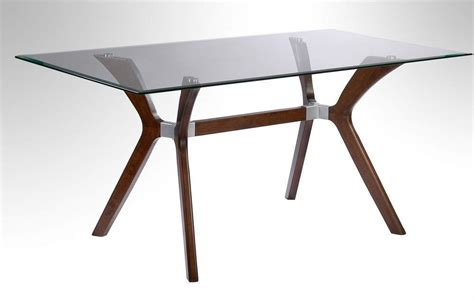 walnut dining table with tempered rectangular glass