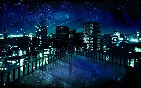 anime girl starry night cityscape wallpaperfool