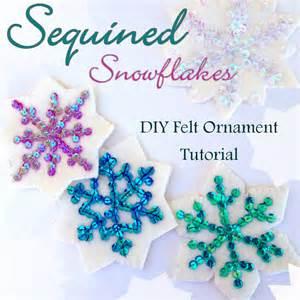 sequin snowflakes felt christmas ornament pattern american felt amp craft blog
