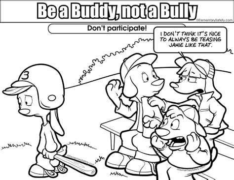 Coloring Be Buddy Not Bully Bullying Coloring Sheet