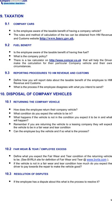 vehicle policy template company vehicle policy template for free page 9