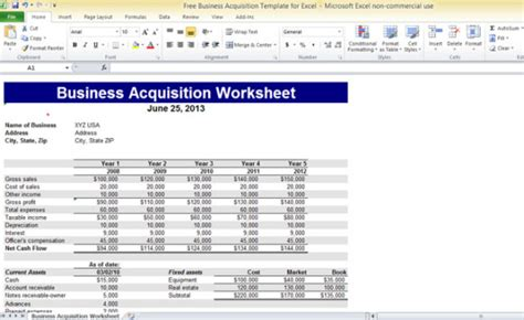 free business templates for excel free business acquisition template for excel