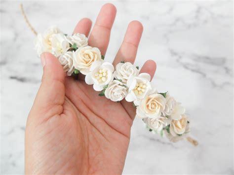 wedding hair accessories ivory flower white and ivory flower crown wedding hair accessories