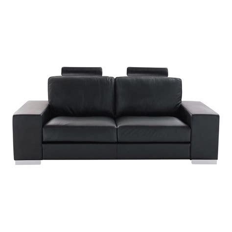 2 seater leather sofa in black daytona maisons du monde