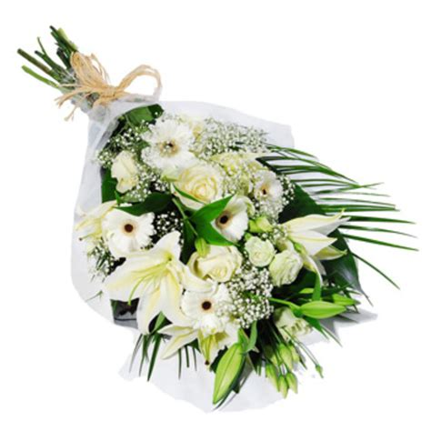 Sympathy Bouquet by White Floral Sympathy Bouquet White Lilies Roses