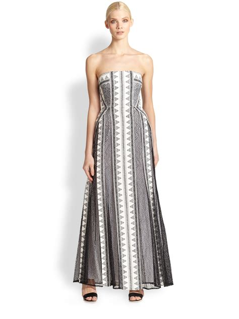 Kia Dress bcbgmaxazria kia lace overlay strapless gown in white lyst