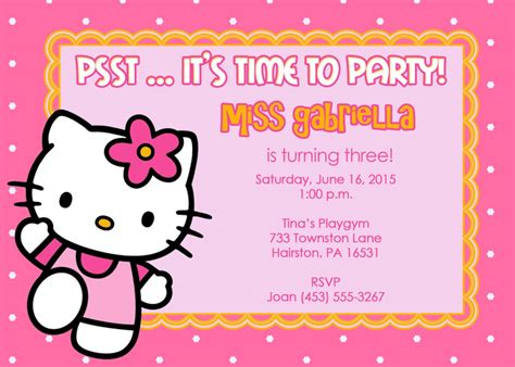 hello kitty birthday invitations templates free