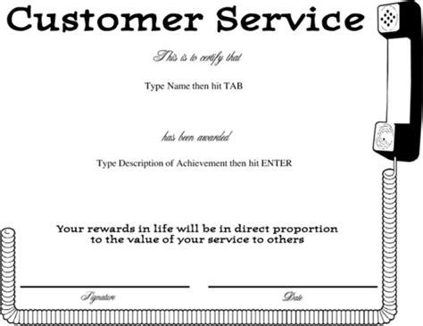 Customer Service Certificate Template award certificate templates