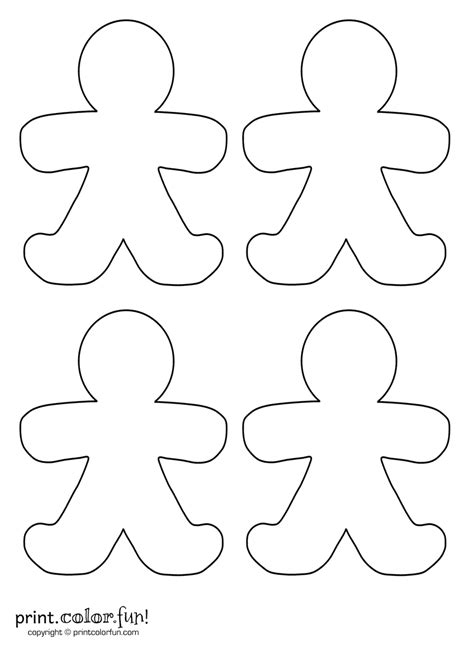 printable holiday shapes four blank gingerbread men coloring page print color fun