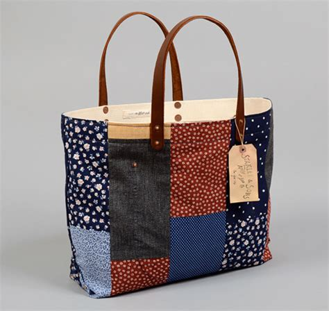 Patchwork Tote Bags - th s co tote bag with leather handles patchwork 4
