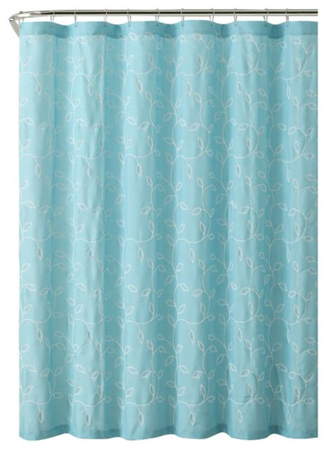 aqua and grey curtains gray caleb embroidered leaves fabric bathroom shower