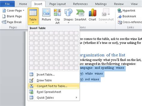 how to convert table to text in word how to convert text to table in word 2010 dummies