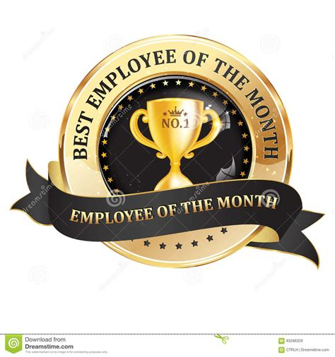 best employer best employee of the month golden black ribbon stock