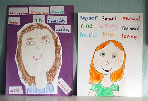 describe yourself pattern all about me adjective self portraits for kids make and