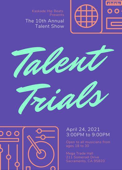 customize  talent show flyer templates  canva