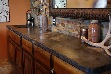 rustic outdoor concrete countertop kitchen