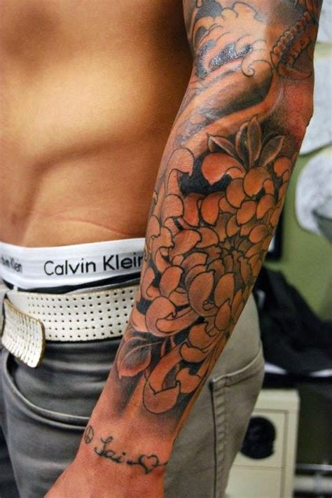 mens flower tattoo sleeve designs flower designs ideas and meaning tattoos for you
