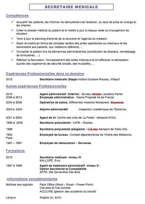 Lettre De Motivation De Secrétaire Médicale Correction Cv Secr 233 Taire M 233 Dicale