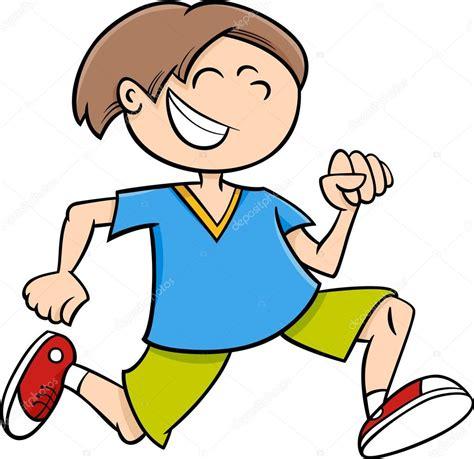 imagenes niños corriendo dibujos animados de chico corriendo feliz vector de
