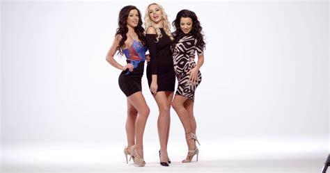 Three Heels three vivacious in black miniskirt dresses
