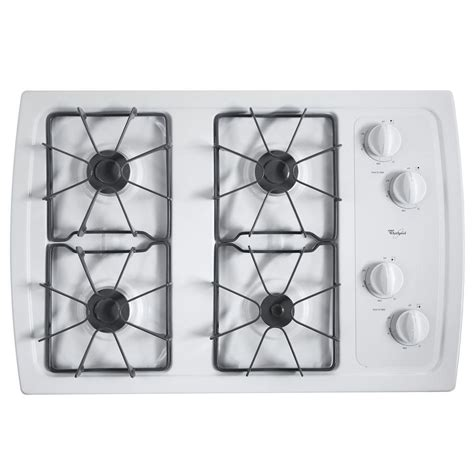 whirlpool gas cooktop 30 whirlpool 30 in gas cooktop in white with 4 burners