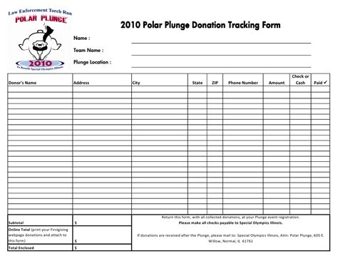 2010 plunge donation tracking form