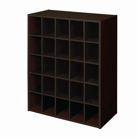 Closetmaid 25 Cube Organizer closetmaid 24 in w x 32 in h espresso stackable 25 cube organizer 78981 the home depot