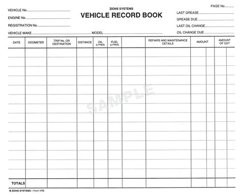 template of vehicle log book maintenance log book images
