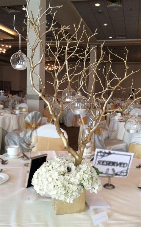 manzanita branch centerpieces reception centerpieces arrangement includes gold sprayed