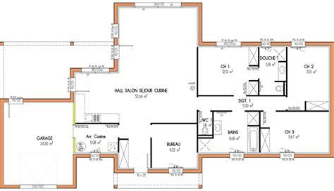 plan maison plain pied 3 chambres 1 bureau plan maison etage 4 chambres 1 bureau ventana